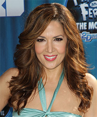 Maria Canals Berrera Long Wavy Formal    Hairstyle with Side Swept Bangs  -  Brunette Hair Color with Light Brunette Highlights