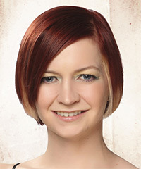 Short Straight Casual    Hairstyle   -  Burgundy Red Hair Color with Light Blonde Highlights
