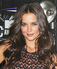 Katie Holmes Long Wavy Formal    Hairstyle   - Dark Chocolate Brunette Hair Color