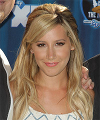 Ashley Tisdale  Long Straight Casual   Half Up Hairstyle with Side Swept Bangs  -  Blonde Hair Color with Light Blonde Highlights