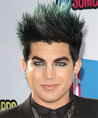Adam Lambert Short Straight Alternative  Emo  Hairstyle   - Black  Hair Color with Green Highlights