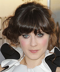 Zooey Deschanel  Long Curly Casual   Updo Hairstyle with Blunt Cut Bangs  - Dark Brunette Hair Color