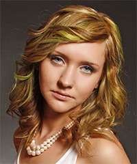 Medium Wavy Casual    Hairstyle with Side Swept Bangs  - Dark Blonde Hair Color with Green Highlights