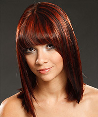 Medium Straight Formal    Hairstyle with Blunt Cut Bangs  - Dark Red Hair Color with Dark Red Highlights