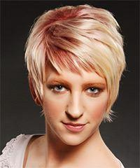 Short Straight Casual    Hairstyle with Side Swept Bangs  - Light Strawberry Blonde and Light Red Two-Tone Hair Color