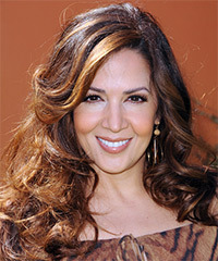 Maria Canals Berrera Long Wavy Formal    Hairstyle   -  Auburn Brunette Hair Color with  Blonde Highlights