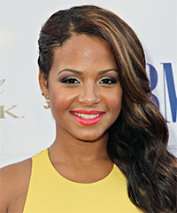 Christina Milian Long Wavy Formal    Hairstyle   - Dark Brunette Hair Color with  Blonde Highlights
