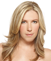 Long Straight Formal    Hairstyle   - Light Champagne Blonde Hair Color with Light Blonde Highlights