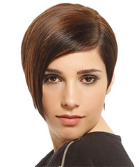 Short Straight Formal  Asymmetrical  Hairstyle   -  Brunette Hair Color with Light Brunette Highlights