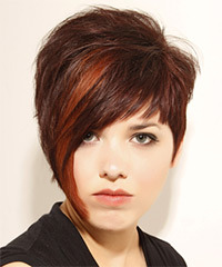 Short Straight Alternative  Asymmetrical  Hairstyle with Layered Bangs  -  Mahogany Brunette Hair Color with  Red Highlights