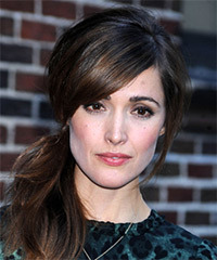 Rose Byrne  Long Straight Casual   Updo Hairstyle with Side Swept Bangs  - Dark Brunette Hair Color