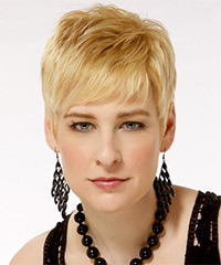 Short Straight Casual    Hairstyle   - Light Golden Blonde Hair Color with Light Blonde Highlights