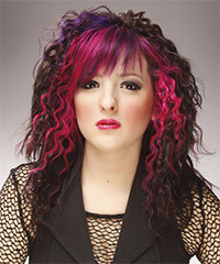 Long Curly Alternative    Hairstyle   - Dark Brunette and Pink Two-Tone Hair Color