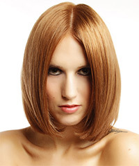 Medium Straight Formal    Hairstyle   -  Copper Red Hair Color