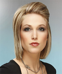 Medium Straight Formal    Hairstyle   -  Champagne Blonde Hair Color with Light Blonde Highlights