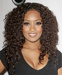 Jennia Fredrique  Long Curly Casual    Hairstyle   -  Chocolate Brunette Hair Color