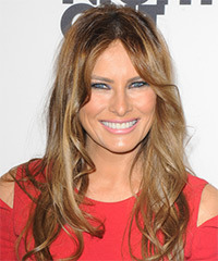 Melania Trump Long Wavy Casual    Hairstyle   - Dark Blonde Hair Color with Light Blonde Highlights