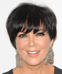 Kris Jenner Short Straight Formal    Hairstyle with Layered Bangs  - Dark Brunette Hair Color