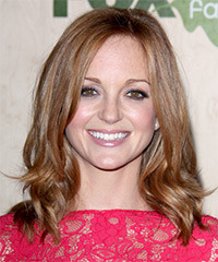 Jayma Mays Medium Wavy Casual    Hairstyle   - Dark Strawberry Blonde Hair Color with  Blonde Highlights