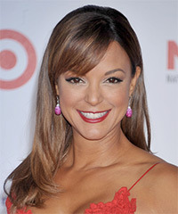 Eva La Rue Long Straight Formal    Hairstyle with Side Swept Bangs  -  Chestnut Brunette Hair Color with  Brunette Highlights