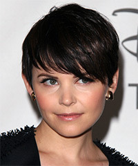 Ginnifer Goodwin Short Straight Formal    Hairstyle with Side Swept Bangs  - Dark Mocha Brunette Hair Color