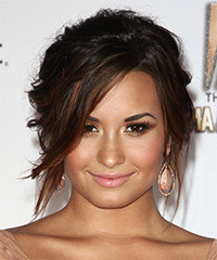 Demi Lovato  Long Curly Casual   Updo Hairstyle with Side Swept Bangs  - Dark Mocha Brunette Hair Color with  Red Highlights