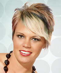 Short Straight Alternative    Hairstyle with Side Swept Bangs  -  Blonde and Green Two-Tone Hair Color with Orange Highlights