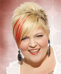 Short Straight Alternative    Hairstyle with Side Swept Bangs  - Light Golden Blonde Hair Color with Orange Highlights