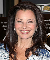 Fran Drescher Long Straight Casual    Hairstyle   - Dark Brunette Hair Color