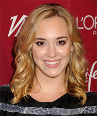 Andrea Bowen Medium Wavy Casual    Hairstyle   -  Golden Blonde Hair Color with  Blonde Highlights