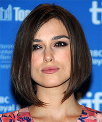 Keira Knightley Medium Straight   Dark Brunette Bob  Haircut