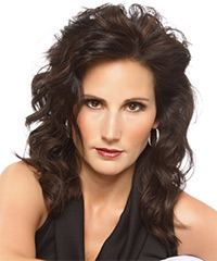 Medium Wavy Formal    Hairstyle   - Dark Brunette Hair Color with  Brunette Highlights