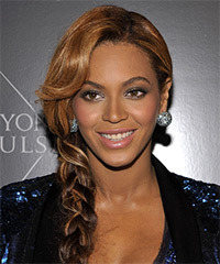 Beyonce Knowles  Long Curly   Dark Brunette Braided Updo  with Side Swept Bangs  and Light Brunette Highlights