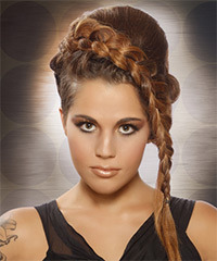 Long Curly Alternative  Braided Updo Hairstyle   -  Caramel Brunette Hair Color