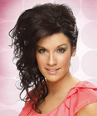 Long Curly Formal   Updo Hairstyle   - Dark Mocha Brunette Hair Color