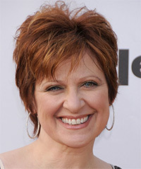 Caroline Manzo Short Straight Casual    Hairstyle   -  Copper Red Hair Color with  Red Highlights