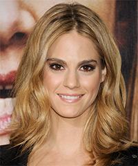 Kelly Kruger Medium Wavy Casual    Hairstyle   - Dark Honey Blonde Hair Color with  Blonde Highlights