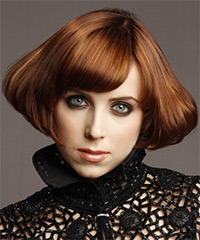 Short Straight Alternative  Emo  Hairstyle   -  Copper Brunette Hair Color with Dark Blonde Highlights