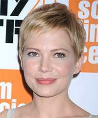Michelle Williams Short Straight Casual    Hairstyle   -  Champagne Blonde Hair Color with Light Blonde Highlights
