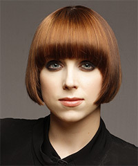 Short Straight Formal    Hairstyle with Blunt Cut Bangs  -  Copper Brunette Hair Color with Dark Blonde Highlights