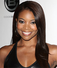 Gabrielle Union Long Straight Formal    Hairstyle   - Dark Mocha Brunette Hair Color