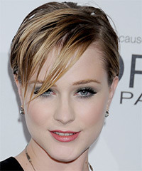 Evan Rachel Wood Short Straight Casual    Hairstyle with Side Swept Bangs  - Light Caramel Brunette Hair Color with Light Blonde Highlights
