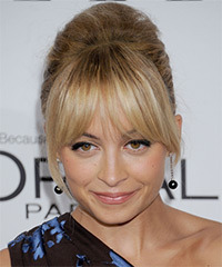 Nicole Richie  Long Straight Formal   Updo Hairstyle with Layered Bangs  - Dark Blonde Hair Color with Light Blonde Highlights