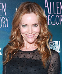 Leslie Mann Long Wavy Casual    Hairstyle   - Dark Copper Blonde Hair Color with Light Blonde Highlights