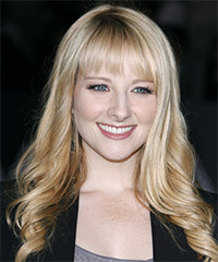 Melissa Rauch Long Wavy Formal    Hairstyle with Layered Bangs  - Light Blonde Hair Color