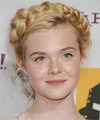 Elle Fanning  Long Curly Formal  Braided Updo Hairstyle   - Light Golden Blonde Hair Color