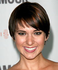 Kelli Barksdale Short Straight Casual    Hairstyle with Layered Bangs  - Dark Brunette Hair Color with Dark Red Highlights