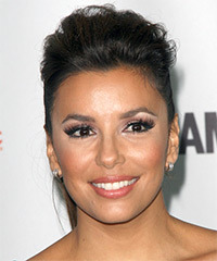 Eva Longoria Parker  Long Straight Casual   Updo Hairstyle   - Dark Brunette Hair Color