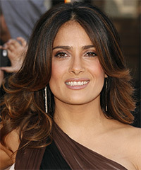 Salma Hayek Long Wavy Formal    Hairstyle   - Dark Mocha Brunette Hair Color with Dark Red Highlights