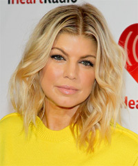 Fergie Medium Wavy Casual    Hairstyle   -  Honey Blonde Hair Color with Light Blonde Highlights